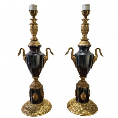 Pair of French Empire gilt bronze urn table lamps, 1920s