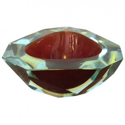 Mid-Century Modern Sommerso Faceted Murano Glass Ashtray by Seguso, circa 1970