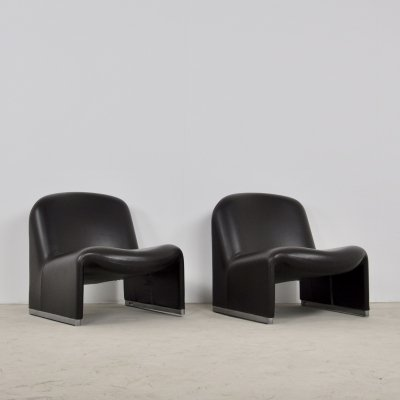 Pair of Alky Chairs in skaï by Giancarlo Piretti for Anonima Castelli, 1970s