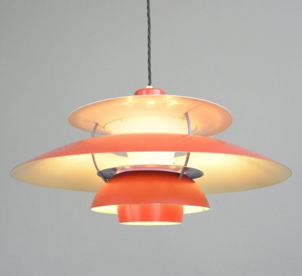 1959 Red Model PH5 Pendant Light by Poul Henningsen for Louis Poulsen