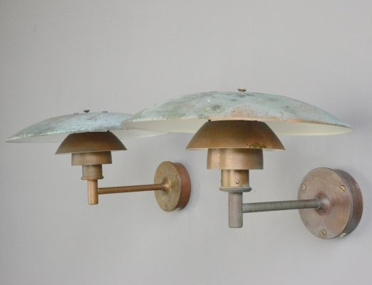 Verdigris Copper PH4.5/3 wall lights by Poul Henningsen for Louis Poulsen, Circa 1950s