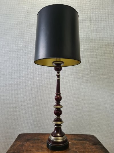 Mid-century French classic table lamp with leather base, 1950s