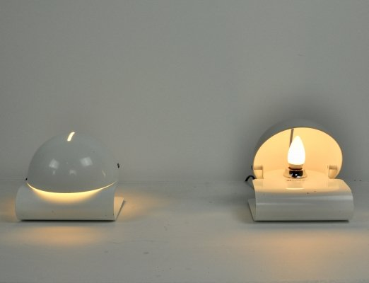 Pair of White Bugia Table Lamps by Giuseppe Cormio for iGuzzini, 1970s