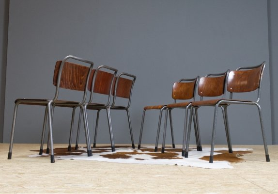 Set of 6 Gispen Th.Delft school chairs in metal & plywood, 1952