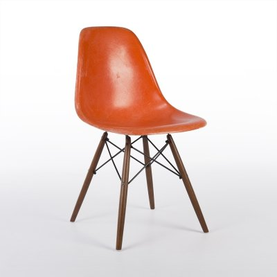 Orange Herman Miller Vintage Original Eames DSW Dining Side Chair