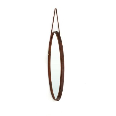 Oval mirror with teak wooden frame, 1960s