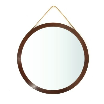 Round mirror with teak wood frame, 1960s