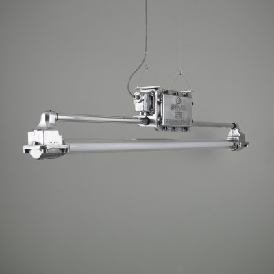 Vintage XL 1940s industrial linear lights by REVO