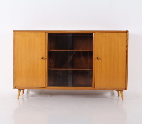 Cherry wood sideboard with central display case, 1950's
