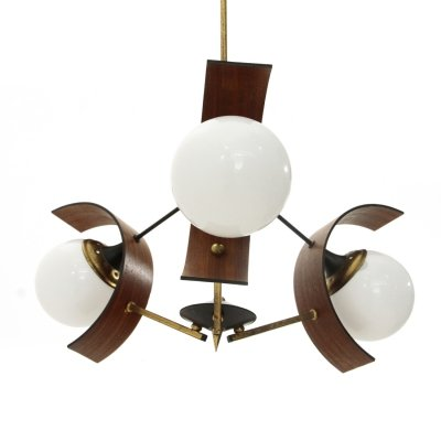 Chandelier with three diffusers in teak, brass & glass, 1960s
