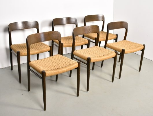 Set of 6 Model 57 dining chairs by Niels Otto Møller for JL Møllers Møbelfabrik, 1960s