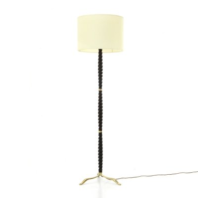 Floor lamp with brass base & parchment diffuser, 1950s