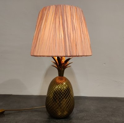 Vintage brass pineapple table lamp, 1970s