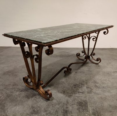 Wrought iron & marble coffee table, 1950s