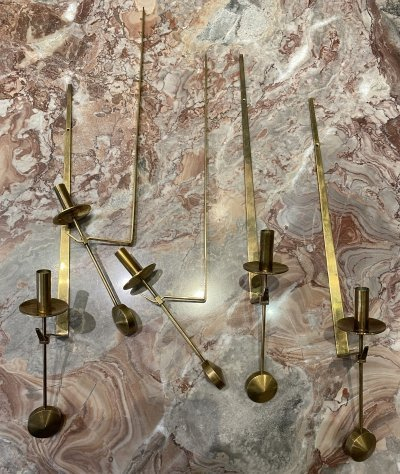 5 brass wall candles by Pierre Forsell for Skultuna, Sweden circa 1970