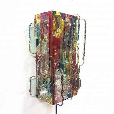 Chartres glass art wall lamp by Willem van Oyen for Raak, Netherlands 1960s