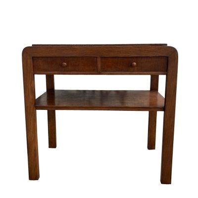Chocolate Art Deco TYP 640 B radio table with two drawers, Poland 1950s