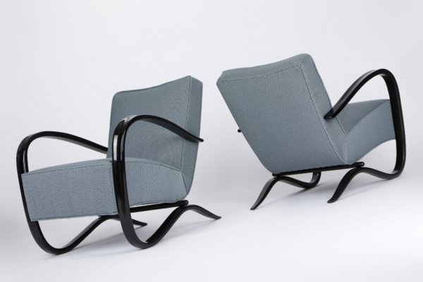 Pair of Art Deco Beech Armchairs H-269 by Jindrich Halabala, Czechoslovakia 1930s