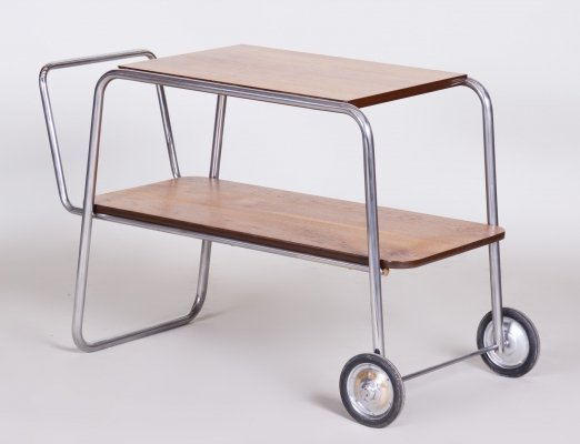 Chrome Oak Bauhaus Trolley by Jindřich Halabala for UP Zavody, 1930s