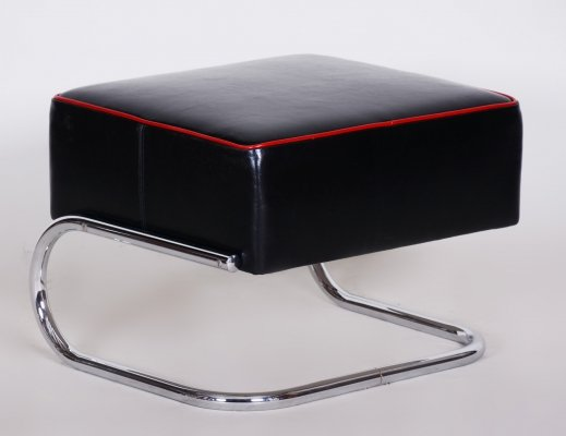Modernist Tubular Stool by Slezák in Black Leather & Chrome-Plated Steel, 1930s