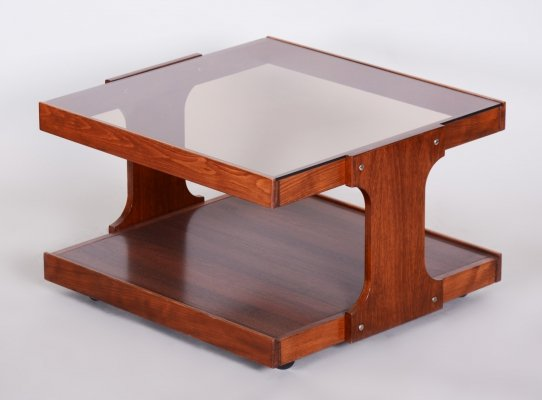 Small Mid-Century Czech Beech & Walnut Table with Glass top, 1960s
