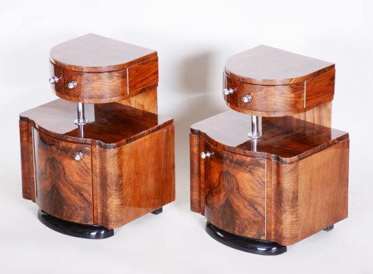 Pair of Unique Czech Artdeco Bed-Side Tables in Walnut, 1920s