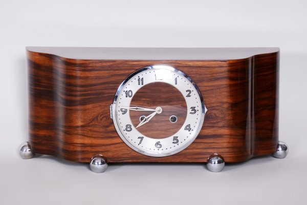 Unique ArtDeco Walnut Table Clock, 1930s