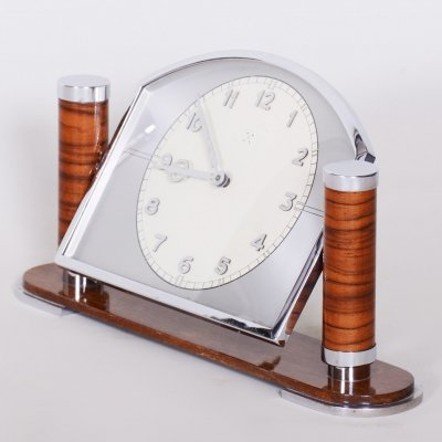 Unique French ArtDeco Walnut Table Clock, 1930s
