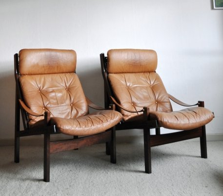 Pair Hunter Highback Lounge Chairs by Torbjørn Afdal for Bruksbo, 1960s