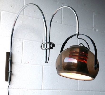 Vintage space age double arc wall lamp, 1960s
