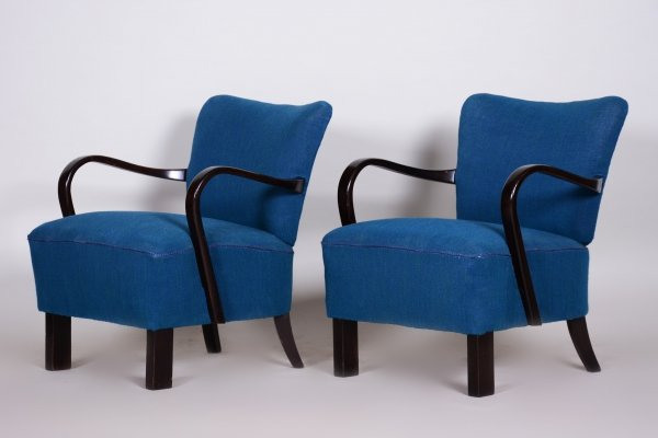 Pair of Blue Czech ArtDeco Beech Armchairs by Jindrich Halabala for UP Zavody, 1930s