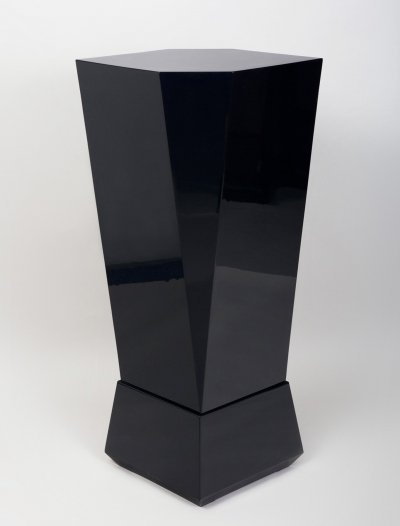 Black Cubist Pedestal from Czechoslovakia, 1970s