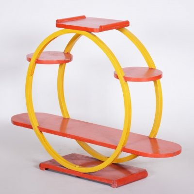 Unusual Czech Mid-Century Yellow & Red Flower Stand, 1940s