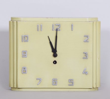 Unusual Czech Mid-Century Bauhaus Wall Clock, 1930s