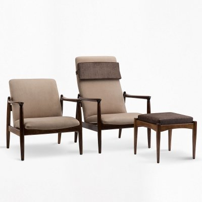Set of GFM-64 armchairs with footstool, 1960s