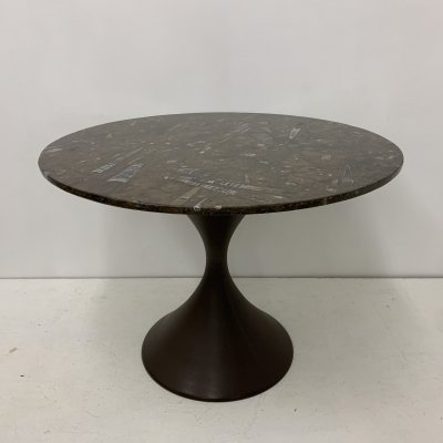 Mid-century dining table with fossile stone marble top, 1970's