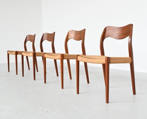 Set of 4 Niels Otto Moller model 71 teak paper cord dining chairs, Denmark 1960