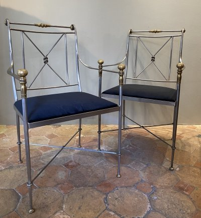 Pair of steel armchairs, circa 1970