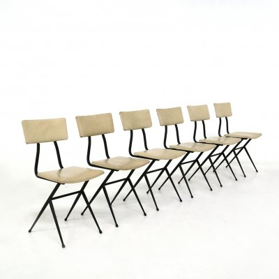 Set of 6 Midcentury Iron & White Leather chairs, France 1950s