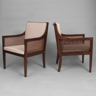 Danish 1940s Pair of Bergere Armchairs