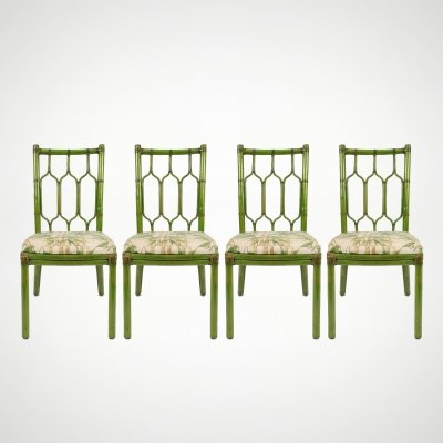 Set of 4 bamboo chairs with leather details, 1970s