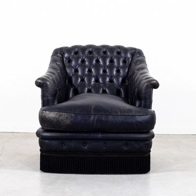 Midcentury Chesterfield style black leather armchair