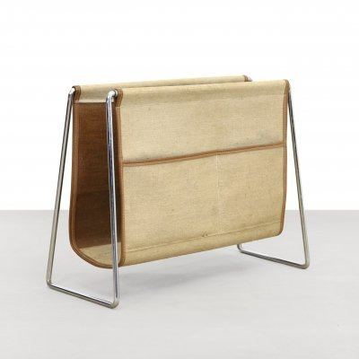 Verner Panton Bachelor Magazine holder in Canvas & Leather