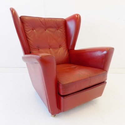 Howard Keith red leather armchair for HK Furniture, 1960s