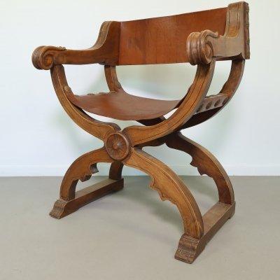 Wooden church armchair with leather seating, 1940s