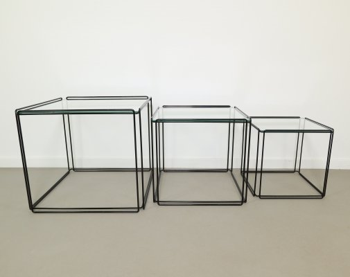 Set of 3 Max Sauze 'Isocele' nesting tables in Black painted metal