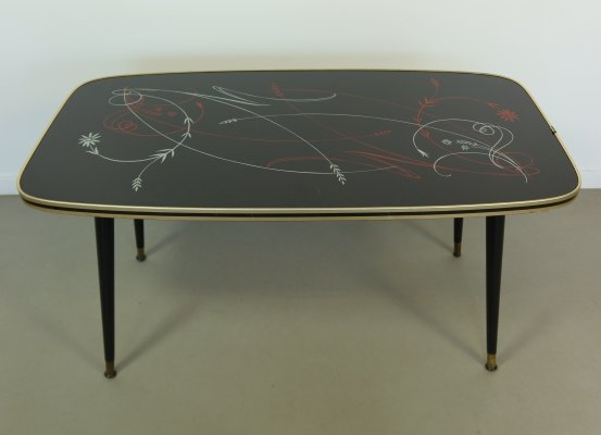 Vintage coffee table with flower print, 1950s