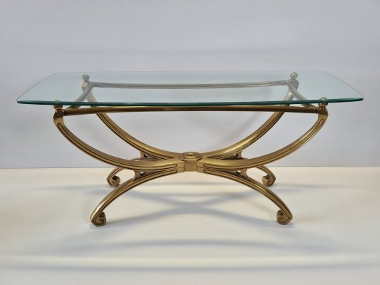 French brass sculpture console table with faceted glass top, 1990s