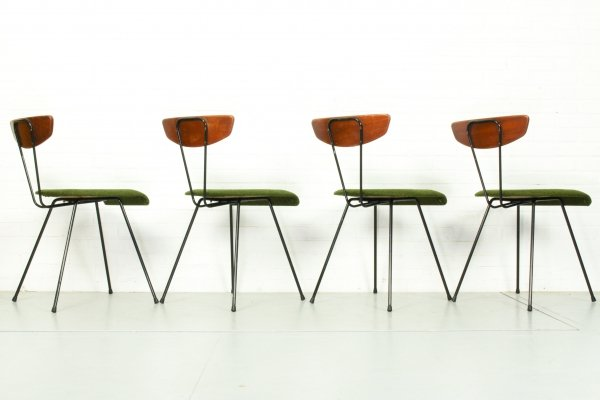 Set of 4 Mid Century Dining Chairs, Belgium 1950s