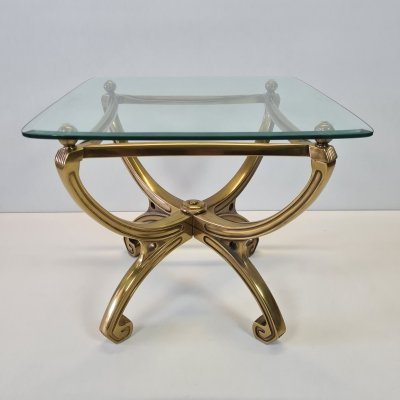 French brass sculpture side table with glass top, 1990s